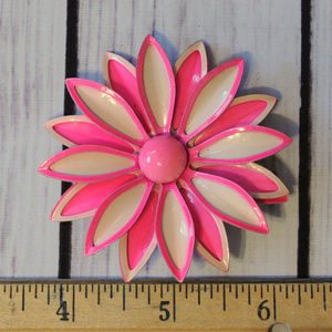 Vintage Jewelry - SOLD pink white enamel flower brooch pin large